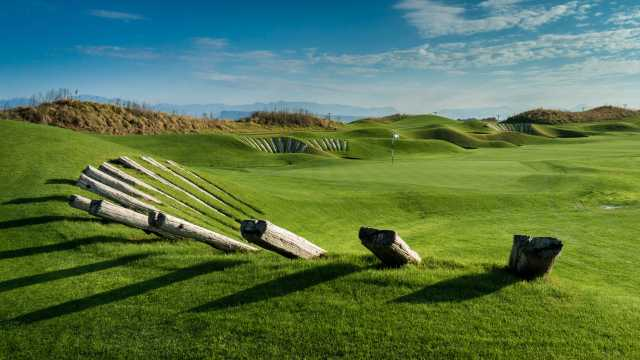 The bunkers at Lykia Links are reinforced with railroad ties.