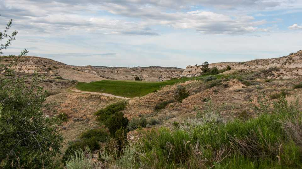 "Hole 15, ""Bully Pulpit"", the signature hole."