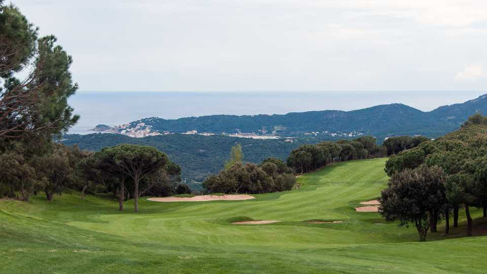 View from the tee at hole 4 at Golf d'Aro with the Costa Brava coastline below.