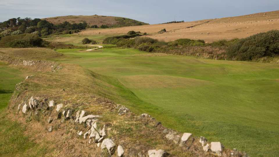 The third hole at St Enodoc traverses an old stone wall.