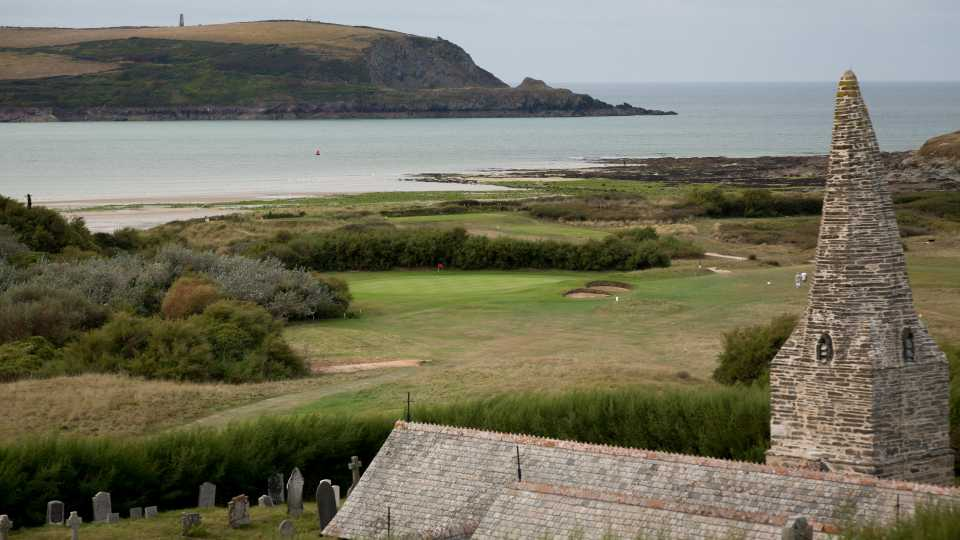 Below the church from which the course takes its name is the par three 11th hole.