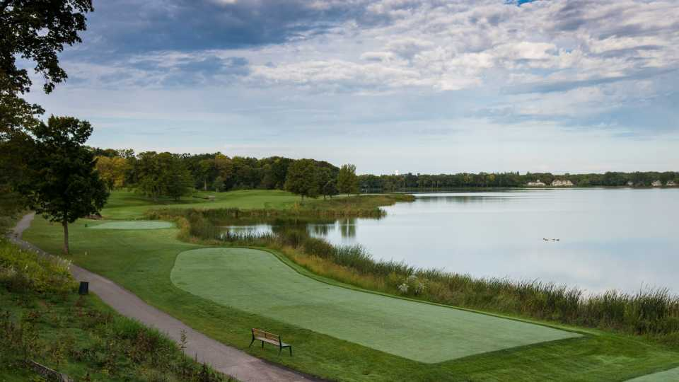 For a mere $125,00 you can enjoy this view of the 16th tee and hole during the Ryder Cup. No, that is not the price of the house, it is the rent for one week.